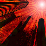 Background,  buildings. City, rays, art, sky, sun, grungy, design, conceptual, background, urban, buildings, illustration Stock Images
