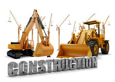 Background with bulldozer and loader Stock Image