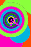 Background Bullseye. Dead Center and Bulls Eye are illustrated by hot pink arrow hitting center of multi-colored, circled target stock illustration