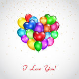 Background with bunch of colored balloons heart-shaped Royalty Free Stock Photos