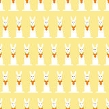 Background with bunny and carrot heart. Seamless pattern with repeating bunny holding carrot heart arranged in staggered rows and isolated on ginger background Stock Photos