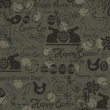 Background with bunny, easter eggs, flower, chicks, hen  Stock Images