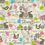 Background with bunny, easter eggs, flower, chicks, hen Stock Photo
