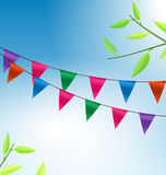 Background with Buntings Flags Garlands Royalty Free Stock Image