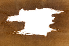 Background of burlap with a white hole for writing text. stock photo