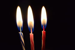 Background burning birthday cake candles Royalty Free Stock Photos