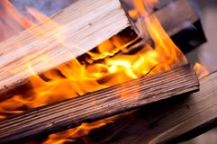 Background of burning logs outdoors Royalty Free Stock Image