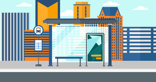 Background of bus stop with skyscrapers behind. Royalty Free Stock Images