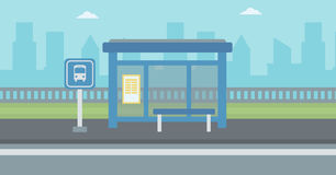 Background of bus stop with skyscrapers behind. Royalty Free Stock Photo