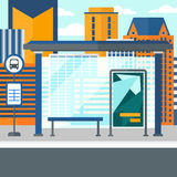 Background of bus stop with skyscrapers behind. Royalty Free Stock Photography