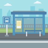 Background of bus stop with skyscrapers behind. Stock Photos