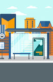 Background of bus stop with skyscrapers behind. Stock Images