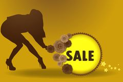Sale girl vector illustration eps10. Background business buy commercial design discount eps10 graphic illustration isolated letters market number off offer Royalty Free Stock Photos
