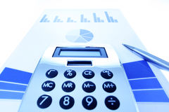 Background of business graph and calculator Royalty Free Stock Photography