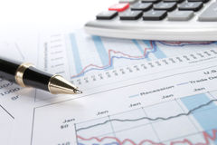 Background of business graph and a pen Stock Images