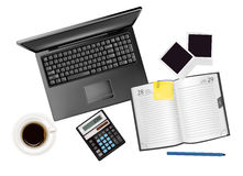 Background with business and office supplies. Stock Photography