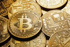 Background on a business theme from virtual bitcoin currency Royalty Free Stock Photography