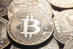 Background on business theme from the world currency bitcoin. The concept of virtual business and crypto-currencies Stock Images