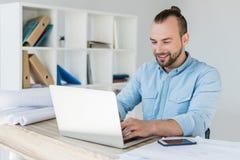 background businessman laptop over white working στοκ εικόνες