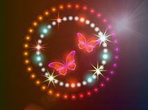 Background with butteflies. Glowing background with magic butterflies and sparkling stars Royalty Free Stock Photos