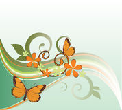 Background with butterflies. Green floral background with butterflies Royalty Free Stock Photography