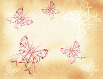 Background with butterflies. Background with the drawn elements similar to butterflies on a background a yellow paper royalty free illustration