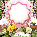 Background with butterflies. Hearts and roses for Valentine's day Royalty Free Stock Photo