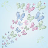 Background with butterflies. Vector background with pastel-colored butterflies Stock Photography