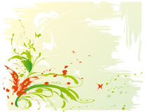 Background with butterflies. Abstract painted background with green leaves, flowers and butterflies, vector illustration stock illustration