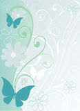 Background with butterflies. Simple background with butterflies and flowers vector illustration