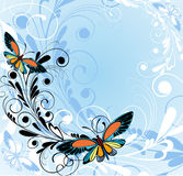 Background with butterflies. Blue floral background with butterflies Royalty Free Stock Photos