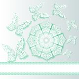 background with butterflies and flower  of lace Royalty Free Stock Photography