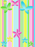 Background with butterflies and flowers vector illustration