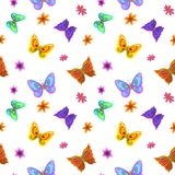 Background, butterflies and flowers. Vector seamless background, multi-coloured butterflies and flowers Royalty Free Stock Photos
