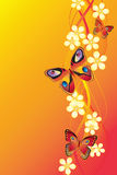 Background with butterflies and flowers. Royalty Free Stock Image