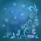Background, butterflies and flowers Royalty Free Stock Photography
