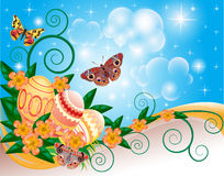 Background with butterflies and flowers eggs Stock Image