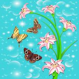 Background with butterflies and flowers pink lilies Royalty Free Stock Photo