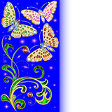 Background with butterflies and ornaments Stock Images