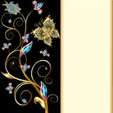 background with butterflies and ornaments made of precious stones Stock Photo