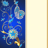 background with butterflies and ornaments made of precious stones Stock Images
