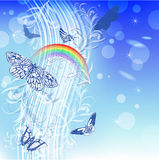 Background with butterflies and rainbow Royalty Free Stock Images