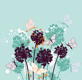 Background with butterflies and wildflowers Royalty Free Stock Photography