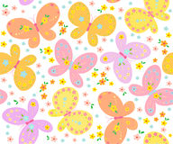 Background with butterfly. Seamless background with butterfly and flowers Stock Photos