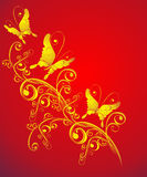 Background with butterfly, florel ornate, vector vector illustration