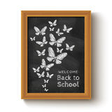 Background with butterflys on chalkboard Royalty Free Stock Photo