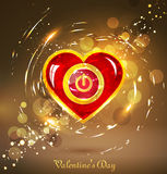 Background with the button power. Festive background with the button power in the form of heart Royalty Free Stock Images