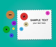 Background with buttons and sample fabric with space for your text. Vector illustration Royalty Free Stock Images