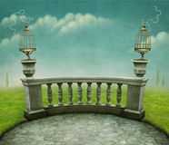 Background with  cage on railing. Stock Photo