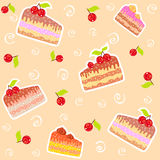 Background cake. Vector seamless background with cake and berries Stock Photo